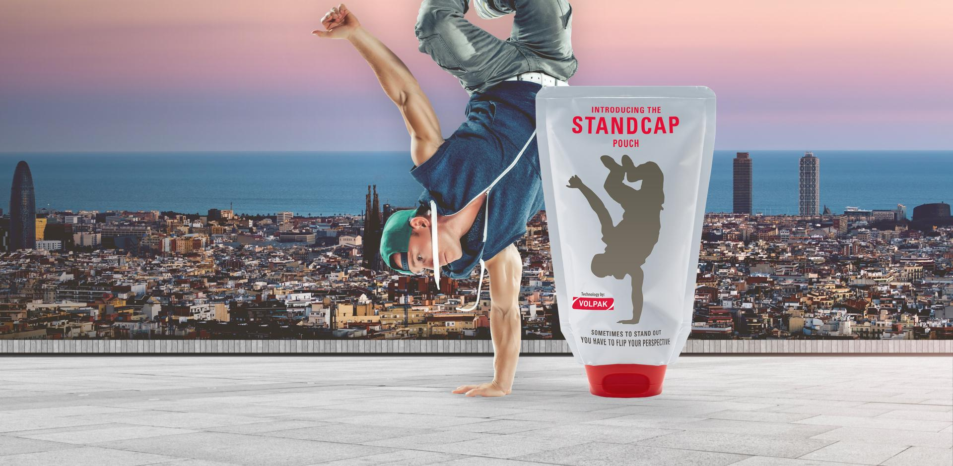 STANDCAP inverted pouch and breakdancer with Barcelona skyline